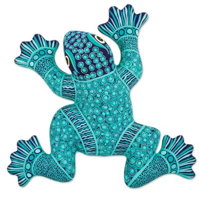 Ceramic wall adornment, 'Spotted Frog' - Handcrafted Ceramic Turquoise Frog Wall Art from Mexico