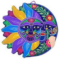 Ceramic wall adornment, 'Joyful Eclipse' - Sun and Moon Handmade Mexican Ceramic Wall Adornment