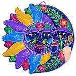 Sun and Moon Handmade Mexican Ceramic Wall Adornment, 'Joyful Eclipse'