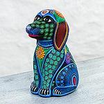 Artisan Signed Ceramic Batik Dog Piggy Bank from Mexico, 'Batik Dog'