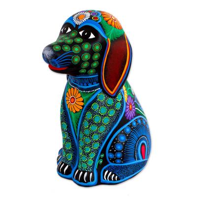 Ceramic piggy bank, 'Batik Dog' - Artisan Signed Ceramic Batik Dog Piggy Bank from Mexico