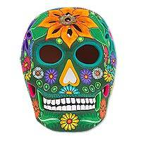 Ceramic Sculpture, 'Cheerful Skull' - Floral Ceramic Day of the Dead Skull Sculpture from Mexico