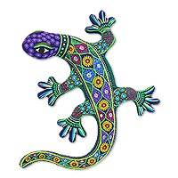 Ceramic wall adornment, 'Desert Lizard' - Handcrafted Ceramic Lizard Wall Art from Mexico