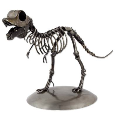 Recycled metal statuette, 'Tyrannosaurus' - Artisan Crafted Upcycled Metal Statuette of T-Rex
