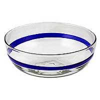Blown glass bowl, 'Cobalt Band' - Mexican Artisan Crafted Large Blown Glass Blue Band Bowl