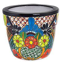 Ceramic flowerpot, 'Mexican Zinnias' - Talavera Style Handcrafted Ceramic Flower Pot from Mexico