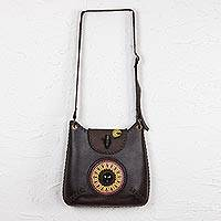 Leather and obsidian shoulder bag, 'Tikal' - Artisan Crafted Brown Leather and Obsidian Shoulder Bag
