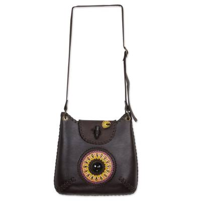 Novica Leather shoulder bag, Espresso Delight