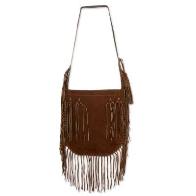 Novica Leather shoulder bag, Boho Mex