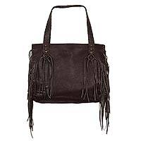 Leather shoulder bag, 'Boho Mex' - Chocolate Brown Leather Shoulder Bag with Lateral Pockets