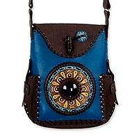 Leather shoulder bag, 'Maya' - Artisan Crafted Blue and Brown Leather Shoulder Bag