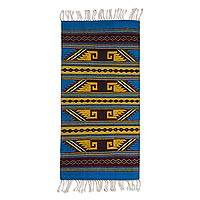 Wool area rug, 'Desert Sky' (5x2.5) - Hand Woven 100% Wool Multi-colored Rug with Fringe (5x2.5)