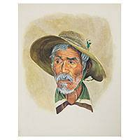 'Old Man Macario' (2008) - Gouache and Crayon Portrait of Mexican Gentleman Signed Art