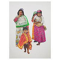 'Huichol Family' (2013) - Huichol Family Signed Crayon and Pencil Mexican Painting