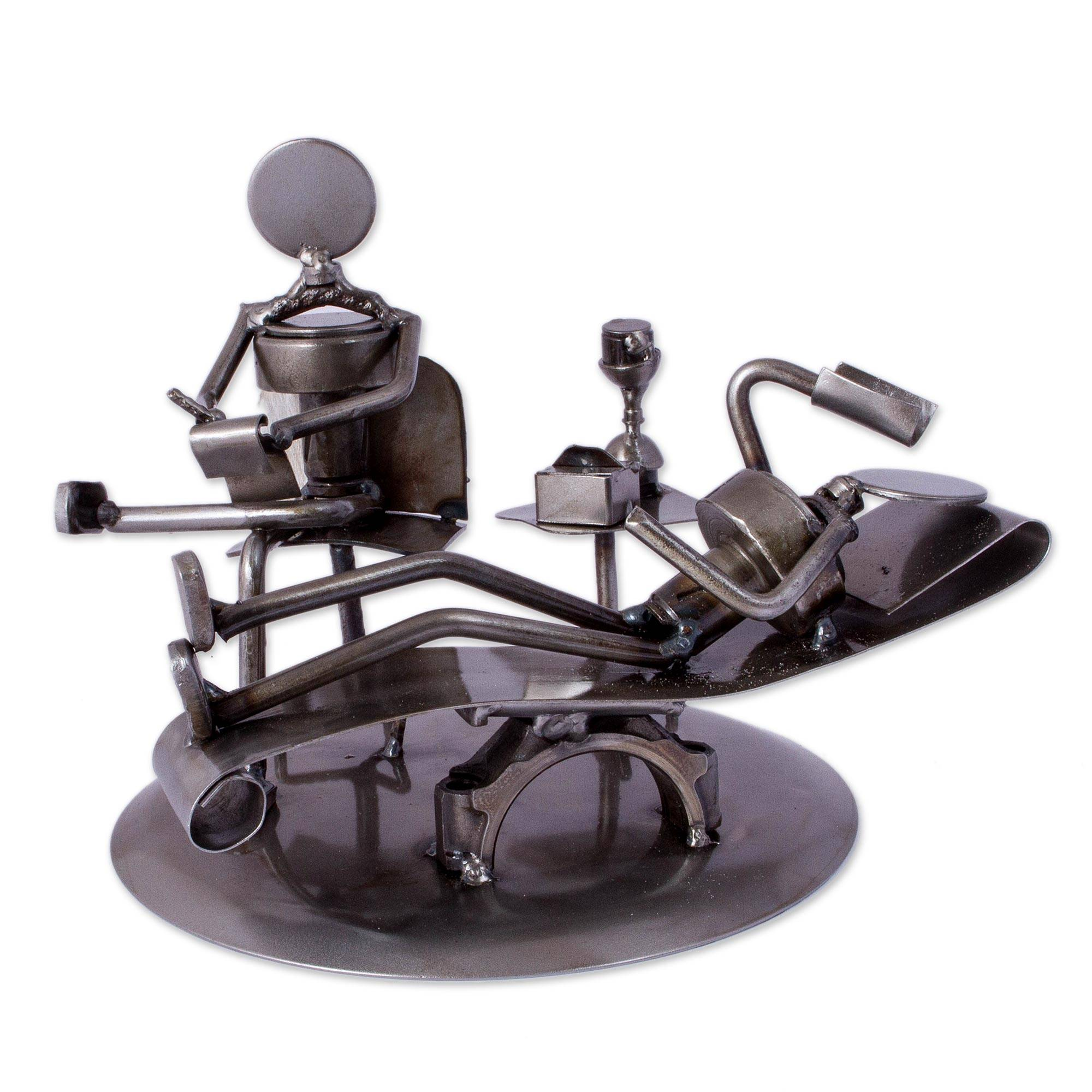 Upcycled Metal Rustic Psychiatrist Sculpture from Mexico Rustic