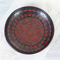 Ceramic centerpiece, 'Crimson Sun Stone' - Handcrafted Aztec Calendar Decorative Ceramic Centerpiece