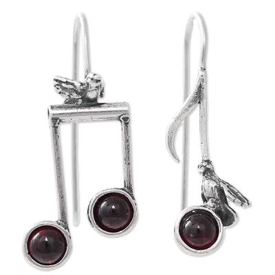 Birds on Musical Notes Sterling Silver Earrings with Garnet