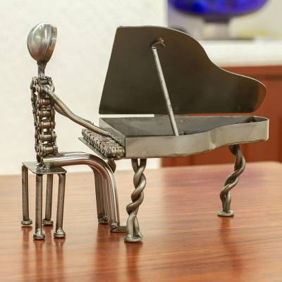 Recycled auto part sculpture, 'Rustic Concert Pianist' - Upcycled Auto Part Sculpture of a Piano Player from Mexico