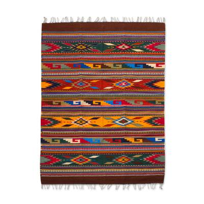 Zapotec wool rug, 'Feathered Shield' (4.5x6.5) - Bright Handwoven Geometric-Motif Zapotec Rug 4.5 x 6.5