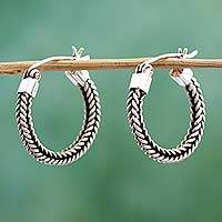 Sterling silver hoop earrings, 'Double Braid' - Petite Artisan Crafted Sterling Hoop Earrings from Mexico