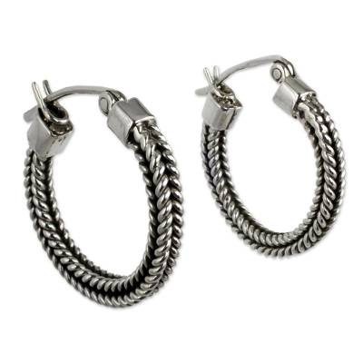 Petite Artisan Crafted Sterling Hoop Earrings from Mexico