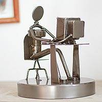 Auto parts sculpture, 'Rustic Programmer' - Mexican Recycled Metal Sculpture of Computer Programmer