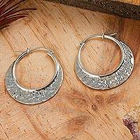 Sterling silver hoop earrings, 'Rustic Elegance'