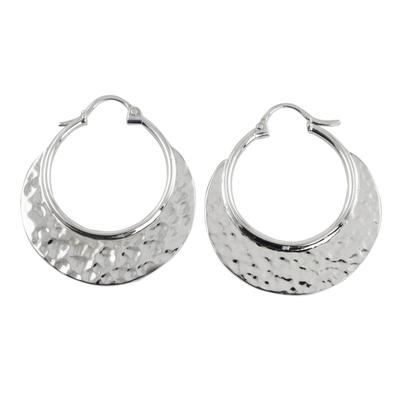 Sterling silver hoop earrings, 'Rustic Elegance' - Hand Crafted Sterling Silver Hammered Hoop Earrings