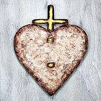 Steel wall art, 'Heart Divine' - Heart and Crucifix Steel Wall Art from Mexico