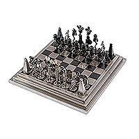 Auto part chess set, 'Pre-Hispanic Battle in Black' - Rustic Chess Set From Mexico Using Recycled Car Parts