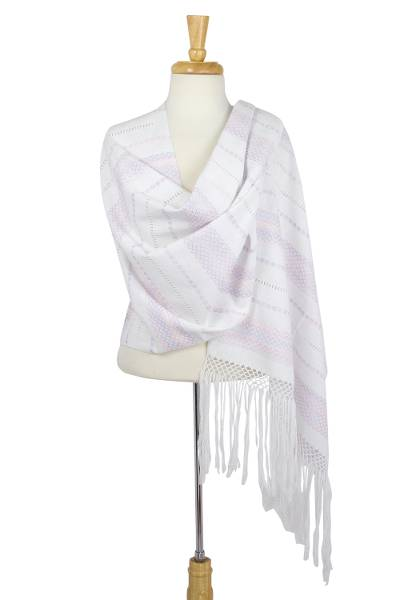 Cotton rebozo shawl, 'Multicolor Diamonds' - White Mexican Rebozo Multicolor Hand Woven Cotton Shawl Wrap