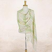 Cotton rebozo shawl, 'Jade Diamonds' - Mexican Rebozo Hand Woven Cotton Shawl Wrap Green on Cream