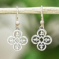 Sterling silver dangle earrings, 'Suave Clovers' - Hand Made Sterling Silver Clover Dangle Earrings Mexico
