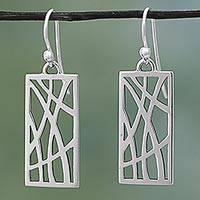 Sterling silver dangle earrings, 'Sterling Windows' - Hand Made Sterling Silver Rectangle Dangle Earrings Mexico