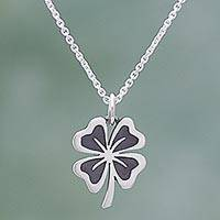 Sterling silver pendant necklace, 'Suave Clover' - Sterling Silver Clover Pendant Necklace from Mexico