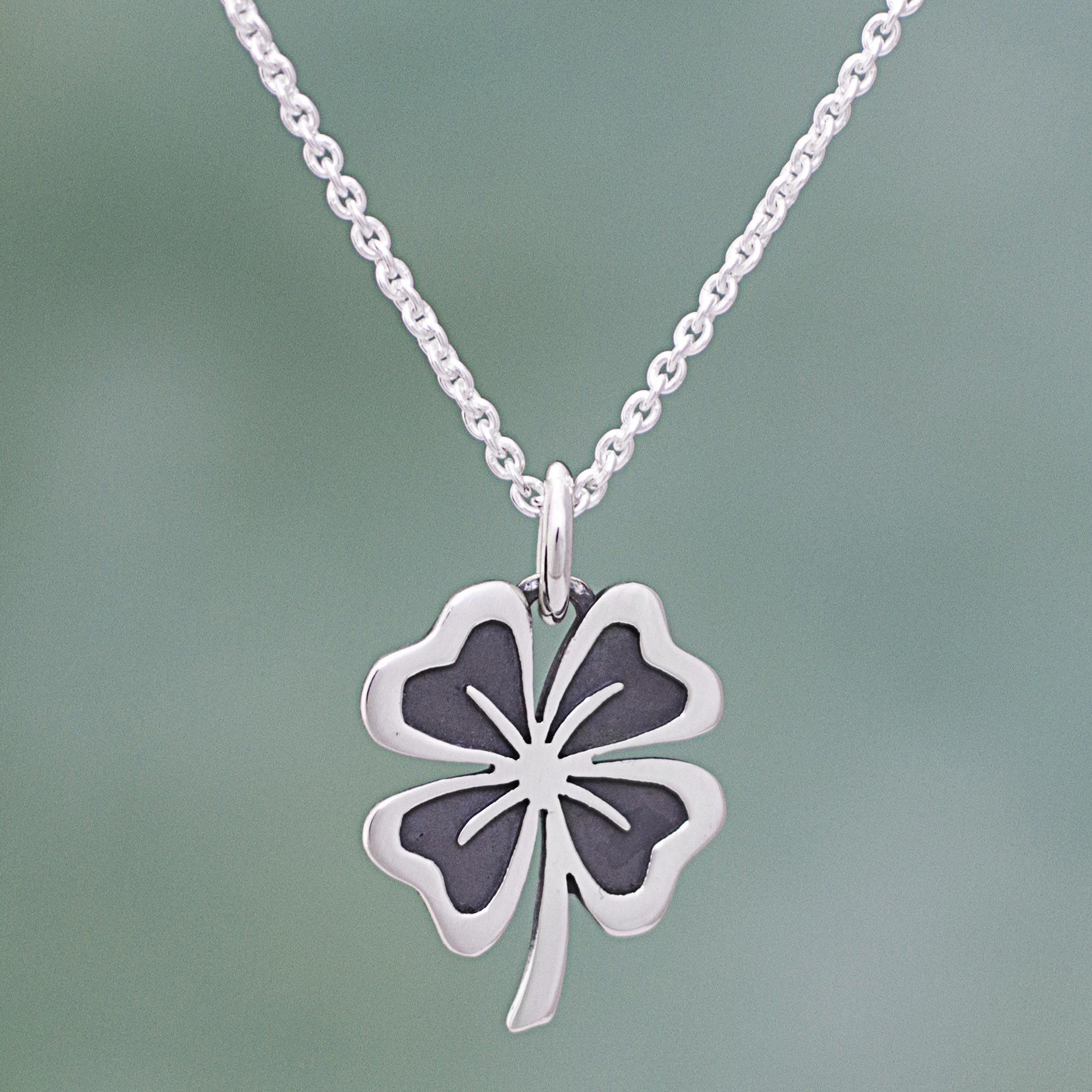 Sterling silver clover pendant necklace from mexico suave clover sterling silver clover pendant necklace from mexico suave clover novica izmirmasajfo