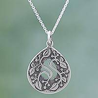 Sterling silver pendant necklace, 'Drop of Life' - Sterling Silver Pendant Necklace Leaf Motifs from Mexico