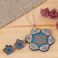 Ceramic and sterling silver jewelry set, 'Floral Blue' - Hand Crafted Ceramic and Sterling Silver Jewelry Set
