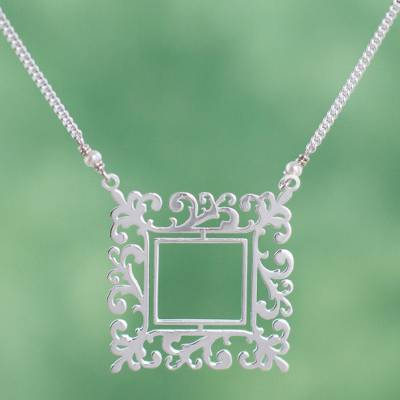 Cultured pearl pendant necklace, 'Square Mirror' - Handmade Cultured Pearl and Sterling Silver Necklace