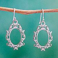 Sterling silver dangle earrings, 'Oval Mirror' - Ornate Oval Dangle Earrings Handcrafted of Mexican Silver