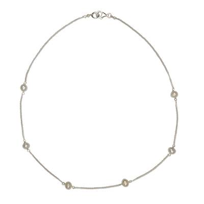 Artisan Crafted Cultured Pearl and Sterling Silver Necklace