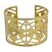 Gold plated cuff bracelet, 'Geometric Glamour' - Hand Crafted 22k Gold Plated Silver Geometric Cuff Bracelet