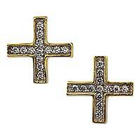 Gold plated button earrings, 'Sparkling Greek Cross' - 22k Gold Plated Silver Cross Earrings with Cubic Zirconia