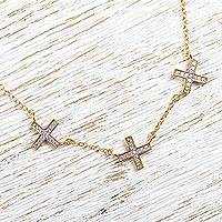 Gold plated station necklace, 'Sparkling Greek Cross' - 22k Gold Plated Silver Cross Necklace with Cubic Zirconia