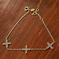 Gold plated station bracelet, 'Sparkling Greek Cross' - Cross Bracelet in 22k Gold Plated Silver with Cubic Zirconia