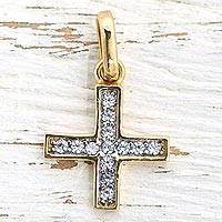 Gold plated pendant, 'Resplendent Cross' - Gold Plated Cubic Zirconia Cross Pendant from Mexico