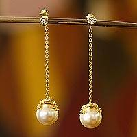Gold plated faux pearl dangle earrings, 'Lucky Frog' - Swarovski Crystal Pearl and Gold Plated Silver Frog Earrings