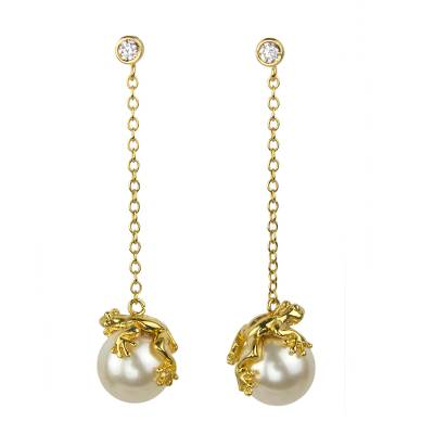 Swarovski Crystal Pearl and Gold Plated Silver Frog Earrings