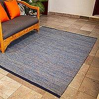 Wool area rug, 'Blue Night' (6.5x5)