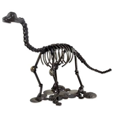 Upcycled auto part sculpture, 'Rustic Brontosaurus' - Dinosaur Sculpture of Recycled Metal and Auto Parts